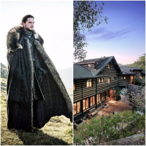 Left: Jon Snow, Right: LA log cabin