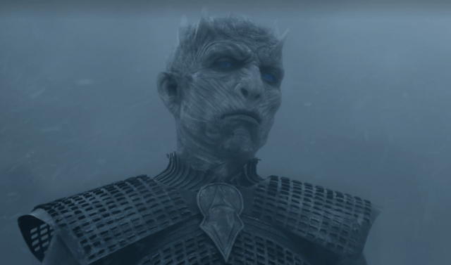 Night King observes his enemy during battle scene.