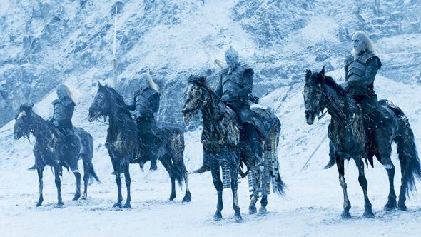 Night King and his army sit on horses in a snowy landscape