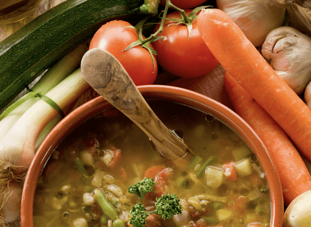 A vegetable soup in a pot.