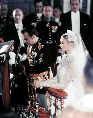 A photo taken on April 19, 1956 shows US actress Grace Kelly and Prince Rainier of Monaco during their wedding ceremony in Monaco.