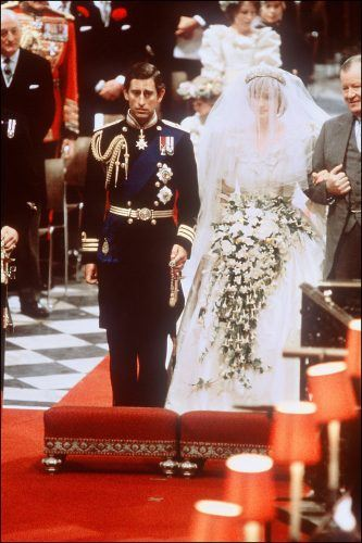Lady Diana, Princess of Wales with Prince Charles of Wales at their wedding at St Paul Cathedral in London