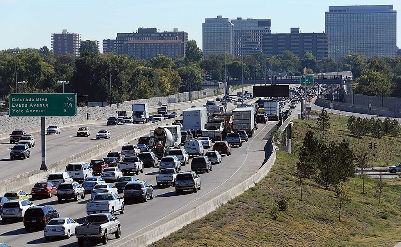 DENVER, CO - OCTOBER 02: Traffic drives on the segement of Interstate 25 near the venue for the first presidential debate on October 2, 2012 in Denver, Colorado. The Interstate will be closed from 5 PM until 10 PM when Republican presidential candidate Mitt Romney will square off against U.S. President Barack Obama in the first of three debates on October 3.