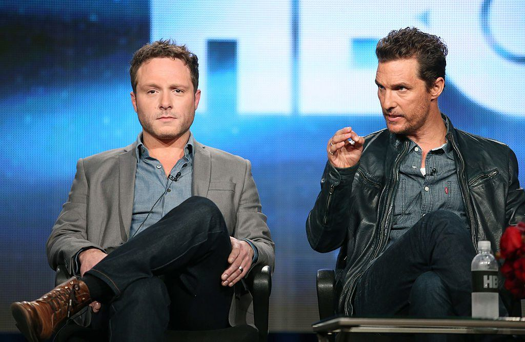 Nic Pizzolatto and Matthew McConaughey at a presentation for HBO in 2014