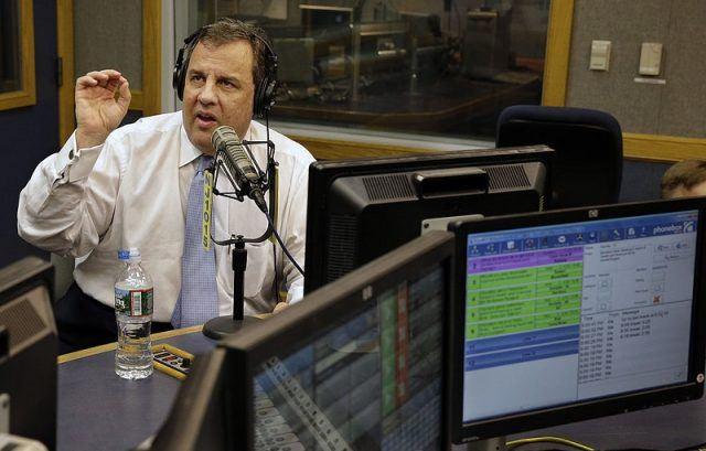 Chris Christie speaking during a radio interview.