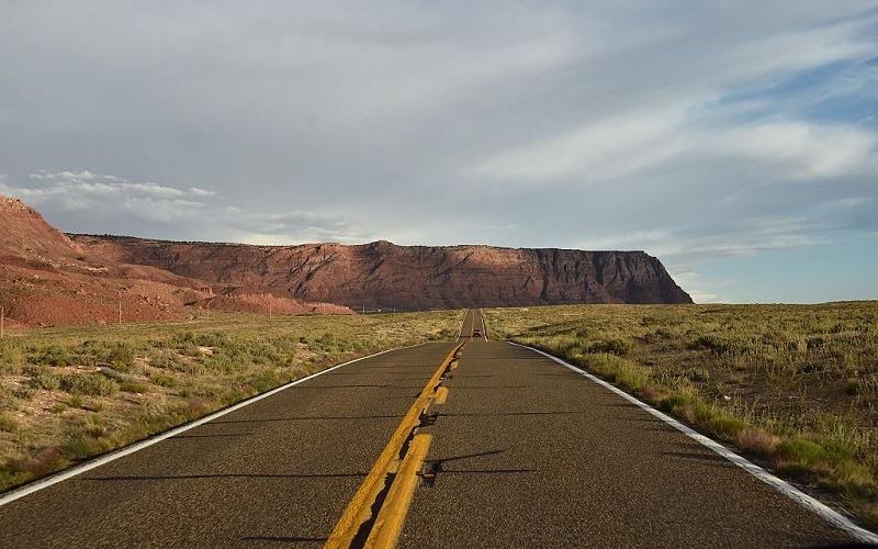A desert road in Arizona seen at ground level