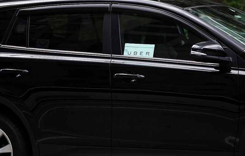Uber car stopped in the street on July 20, 2015 in New York City.