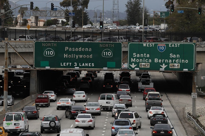 Shot of the 110 freeway on February 21, 2017 in Los Angeles, California.