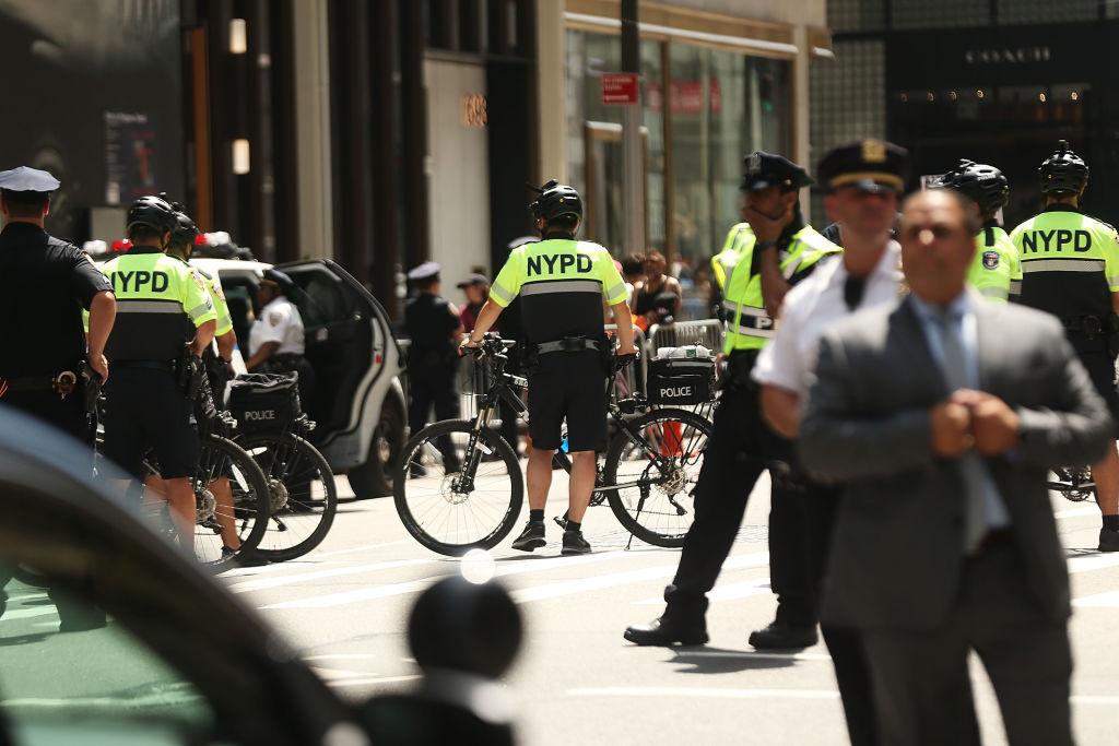 police block a street