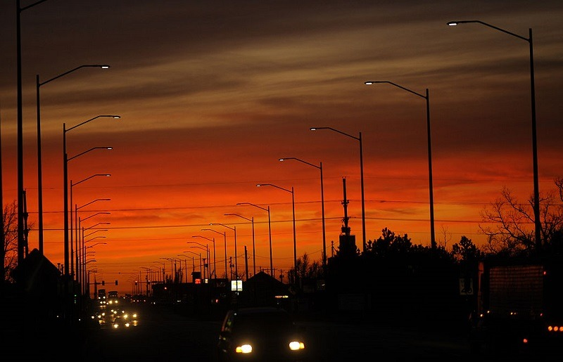 TO GO WITH AFP STORY US-ENVIRONMENT-ENERGY LED street lights turn on at sunset, December 1, 2009, in Greensburg, Kansas. On May 4, 2007, Greensburg, a typical Midwestern US farming town of some 1,400 people, was 95 percent destroyed by a tornado. After the tornado, residents took the decision to rebuild as a model green community for rural America, attracting a group of experts and enthusiasts, helping the community to try to achieve economical, environmental and cultural sustainibilty using renewable energy, LEED building standards and encouraging residents and businesses to go green. Greensburg is the only US city that requires that all city-owned buildings meet the US Green Building Council's LEED Platinum standards.
