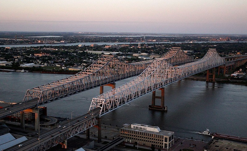 NEW ORLEANS - APRIL 28: An aerial view of Highway 90 and the Greater New Orleans Bridge near downtown New Orleans, Louisiana on April 10, 2010.
