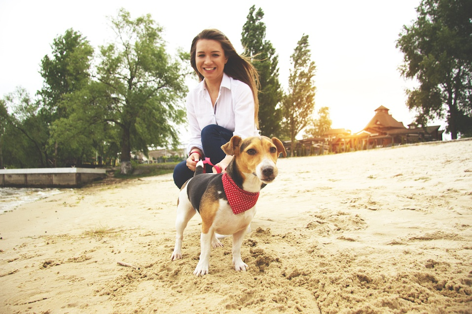 woman with Jack Russell terrier wearing bandana