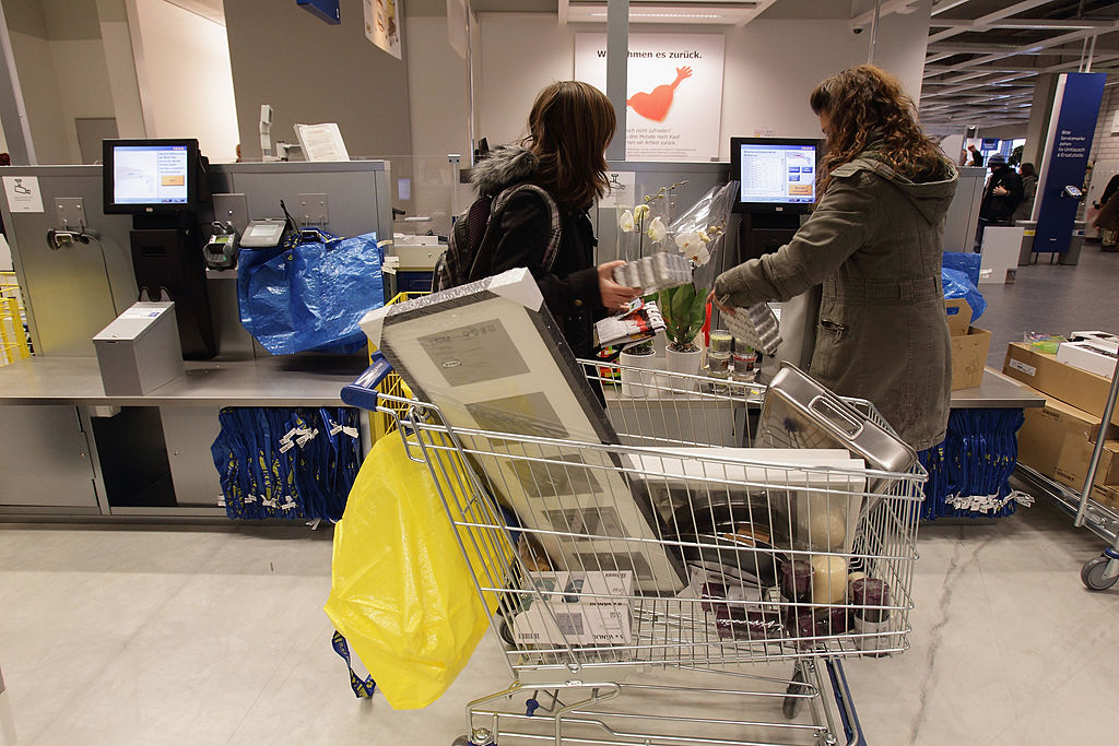 self-service checkout during a store opening at the 4th Ikea chain store in Berlin