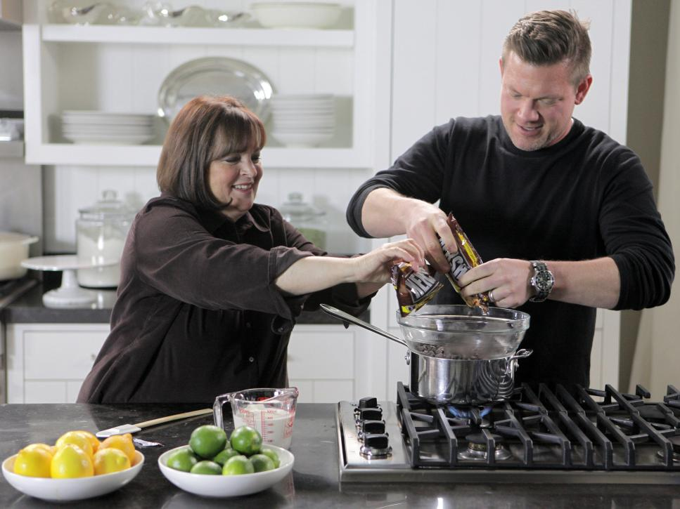 Ina Garten and Tyler Florence melt chocolate
