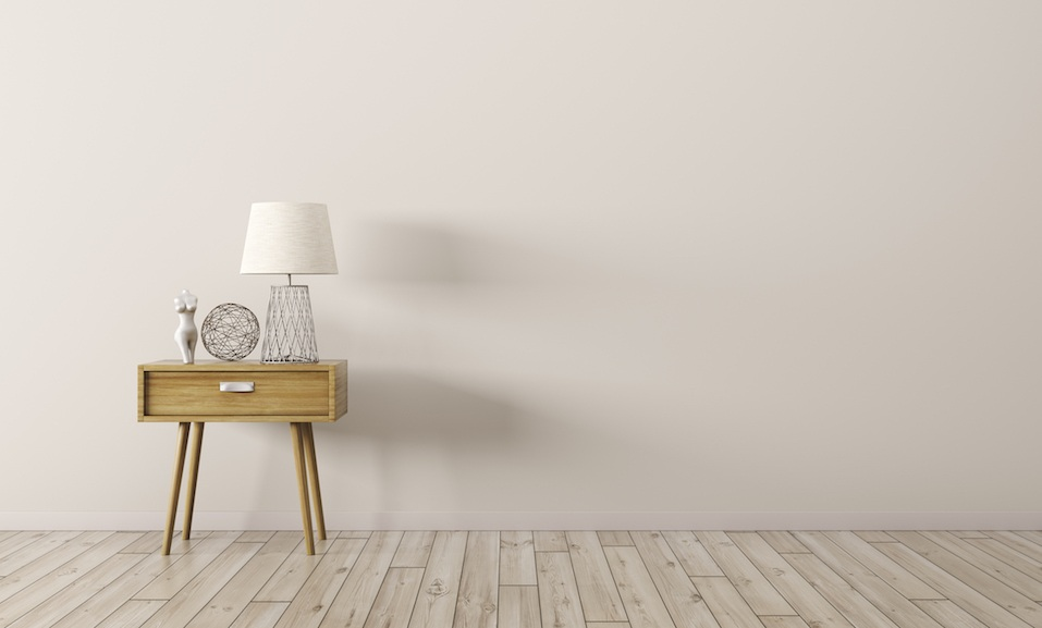 Interior background of living room with wooden side table