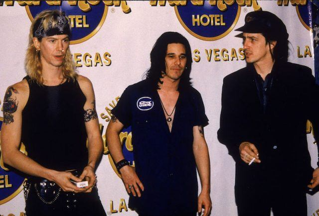 Izzy Stradlin and his bandmates at the Hard Rock Cafe in Las Vegas.