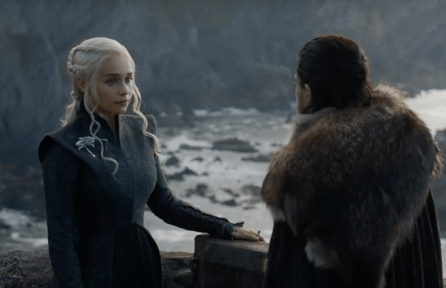 Daenerys speaks with Jon Snow while standing outside