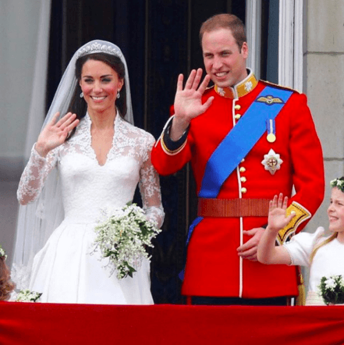 Princess Kate and Prince William on their wedding day