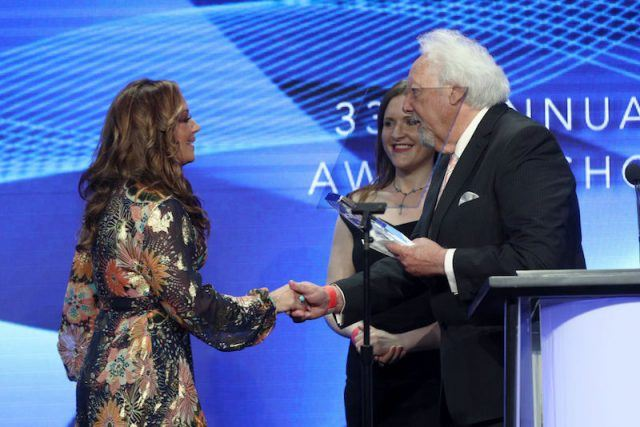 Leah Remini accepts the award for 'Outstanding Achievement in Reality Programming'.
