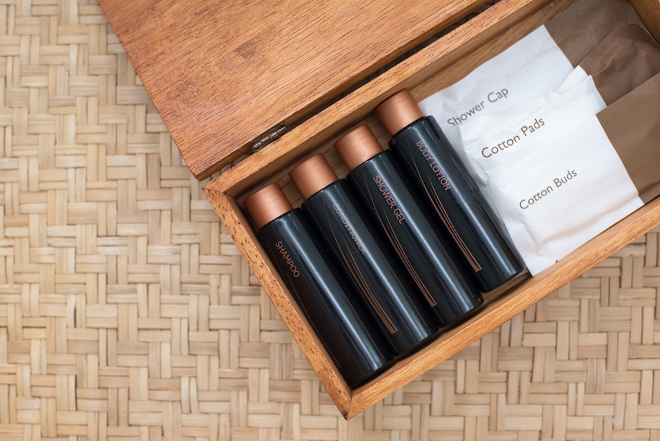 Luxury Hotel Amenity Set in a Wooden Box