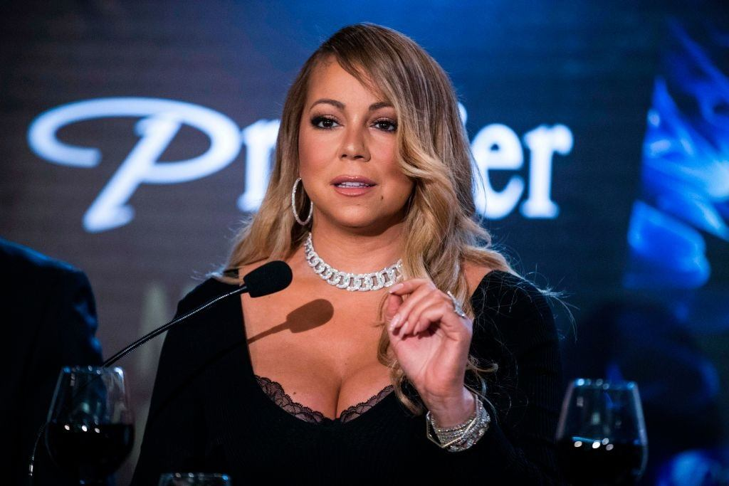 Mariah Carey at a press conference in Israel