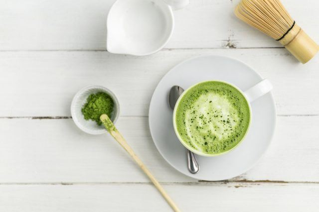Matcha tea mix on a white table.