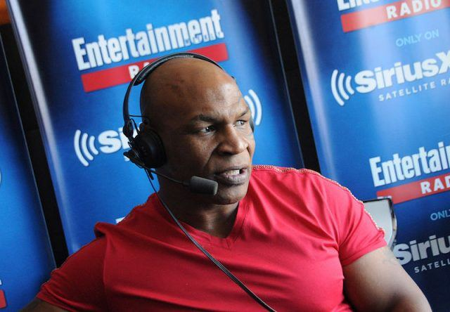 Mike Tyson wears a headset on Enterainment Weekly's Radio Channel Broadcast.
