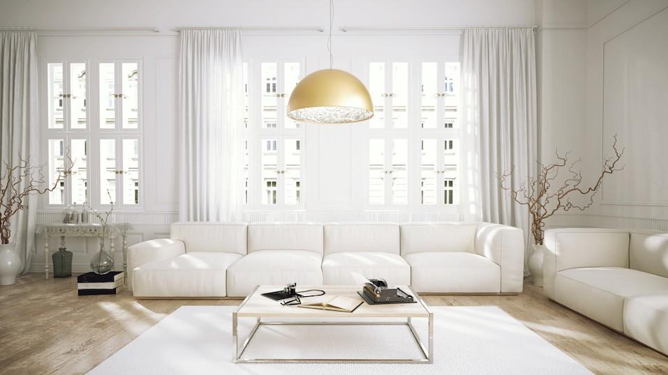 Modern retro style penthouse living room