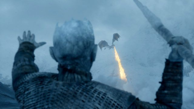 Night King aims a weapon at Viserion the dragon during battle.
