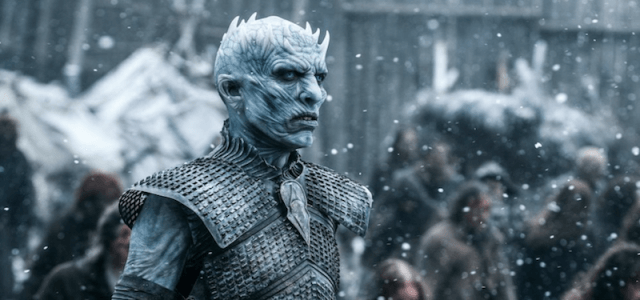 Night King stands and stares down his enemies.