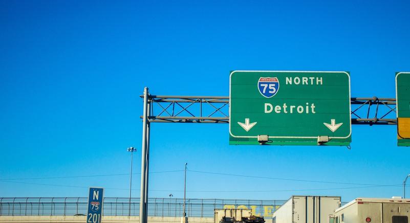Northbound lane of Interstate 75 heading into Detroit,