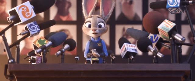 Officer Judy speaks at a Zootopia press event.