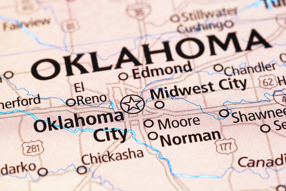 Oklahoma City area on a map