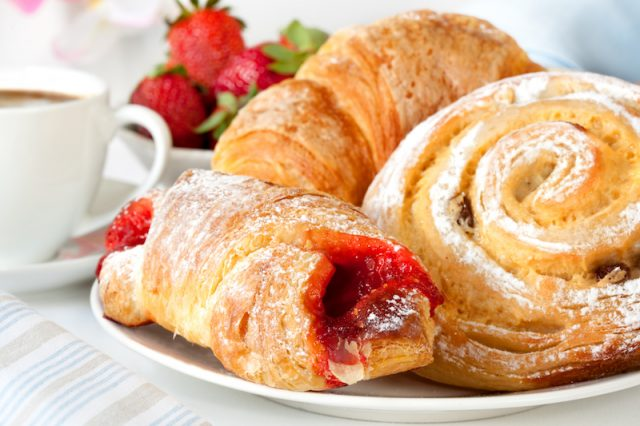 Pastries on a white plate.
