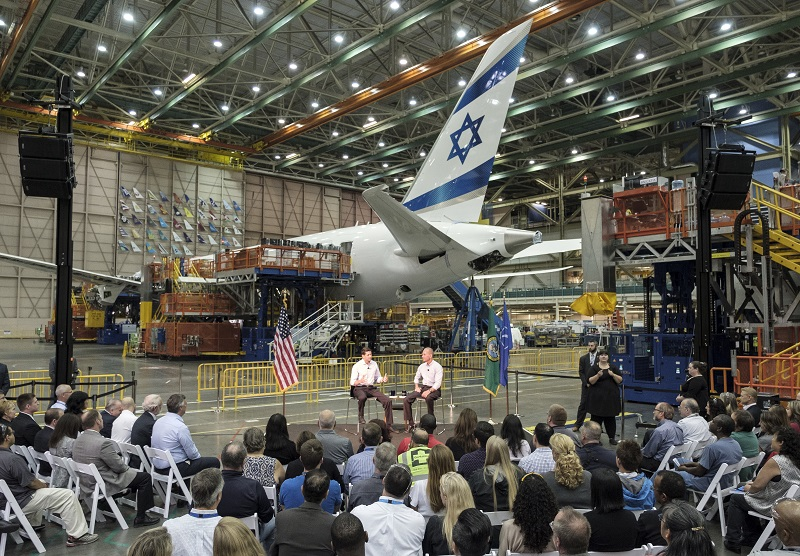 House Speaker Paul Ryan speaks during a town hall with Boeing Company CEO Dennis Muilenburg and Boeing employees at the company's plant in Everett, Washington.