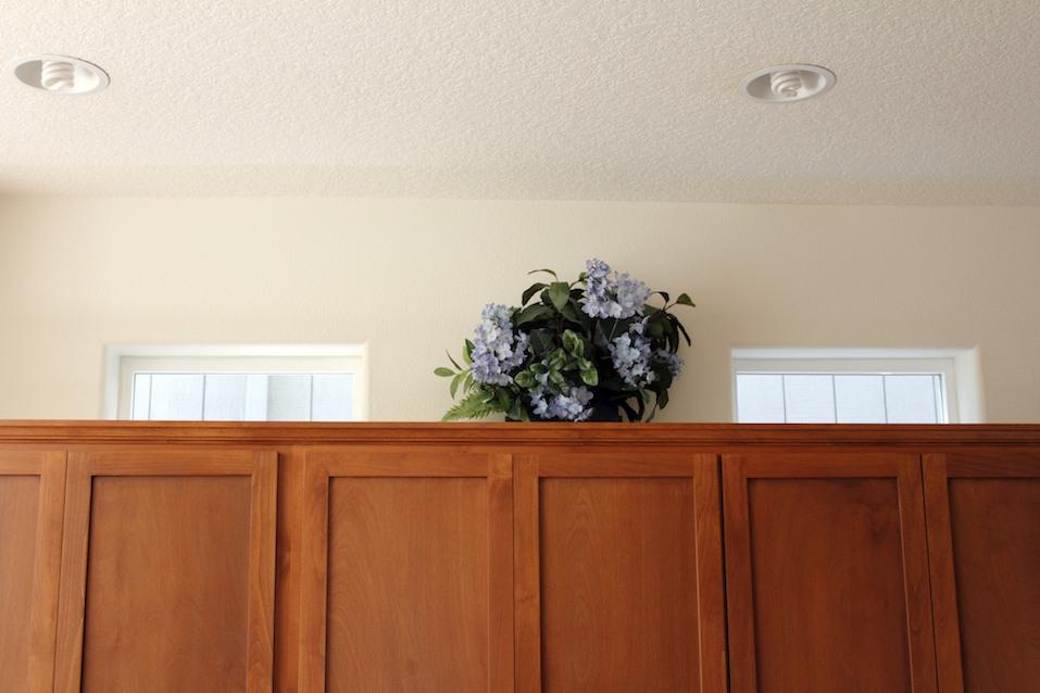 Plastic Flowers on Cabinets