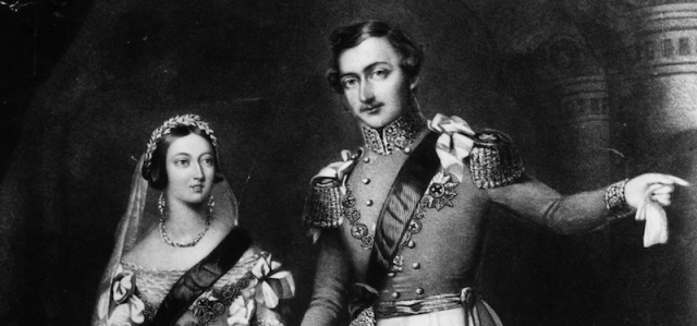A black and white painting of Prince Albert and Queen Victoria.
