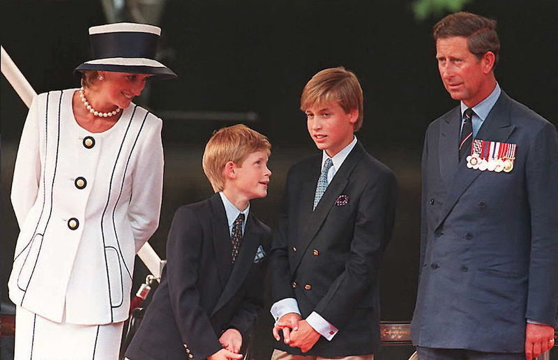 Princess Diana, Prince Harry, Prince William, and Prince Charles