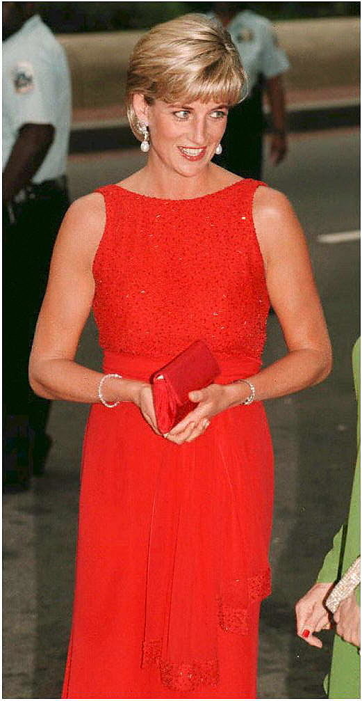 Princess Diana in a red dress