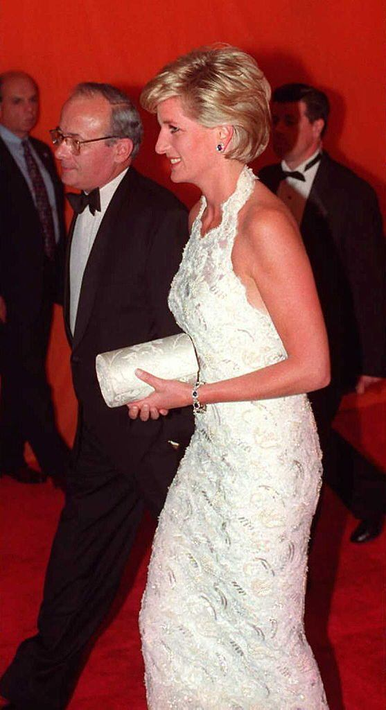 Diana in a white dress at the Nina Hyde Gala