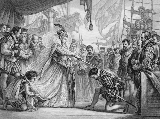 Painting of Queen Elizabeth I of England knighting an explorer on a ship.