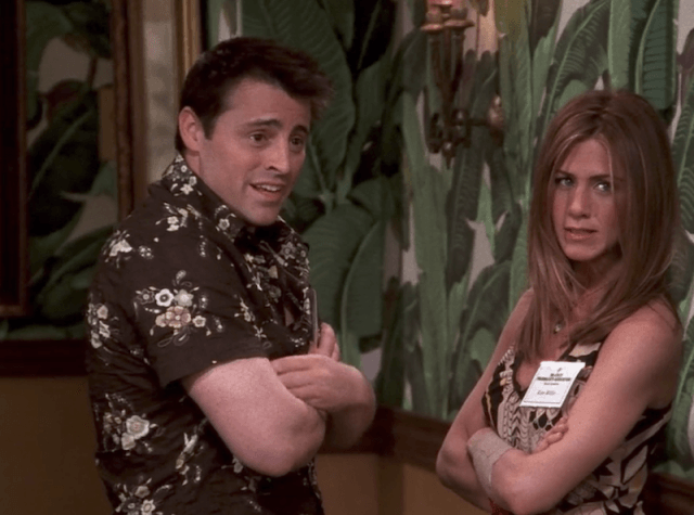 Rachel and Joey having a conversation in Barbados in Friends