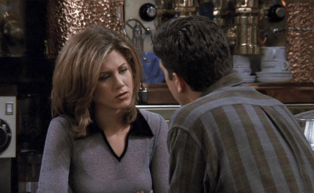 Rachel seen talking to Ross Gellar at the gang's coffee shop in Friends