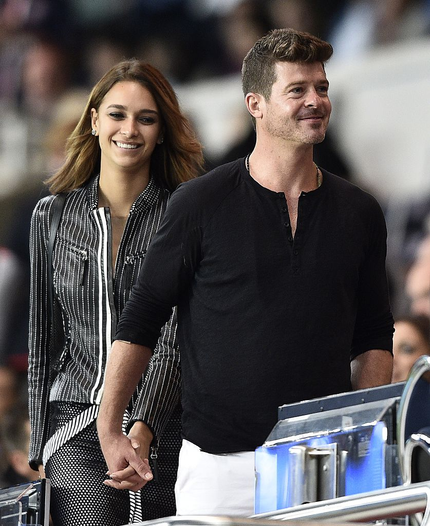 Robin Thicke and his girlfriend April Love Geary attend a French football match in 2015 in Paris.