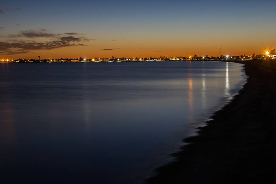 Rockport Beach at night with night lights.