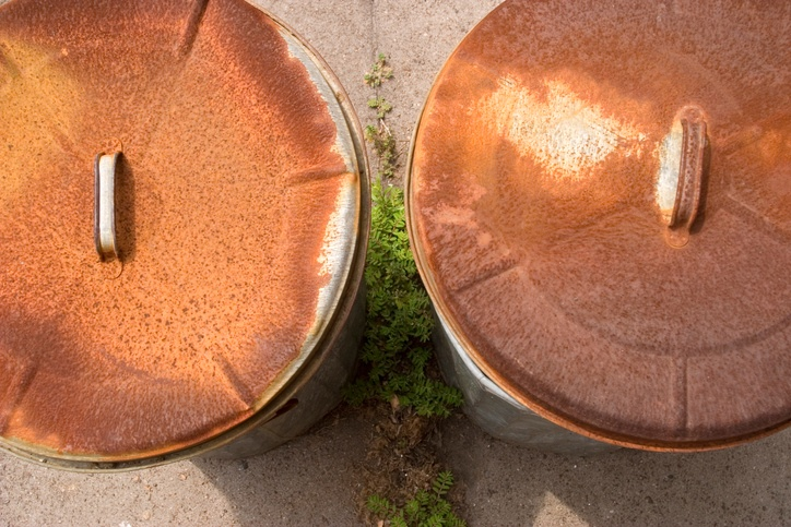 Rusty Garbage Can Lids