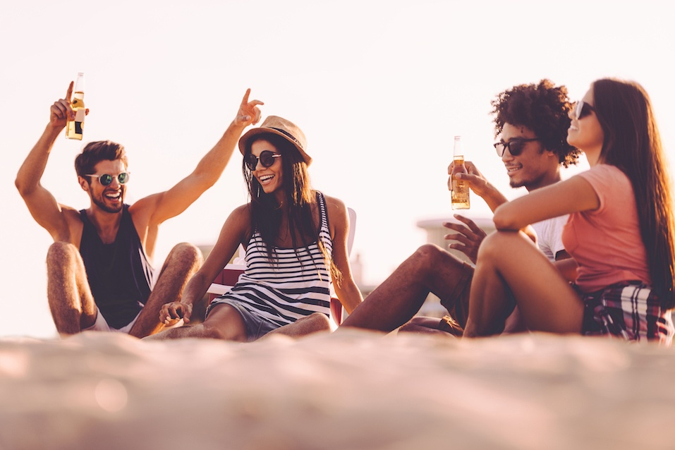 Cheerful young people spending nice time together