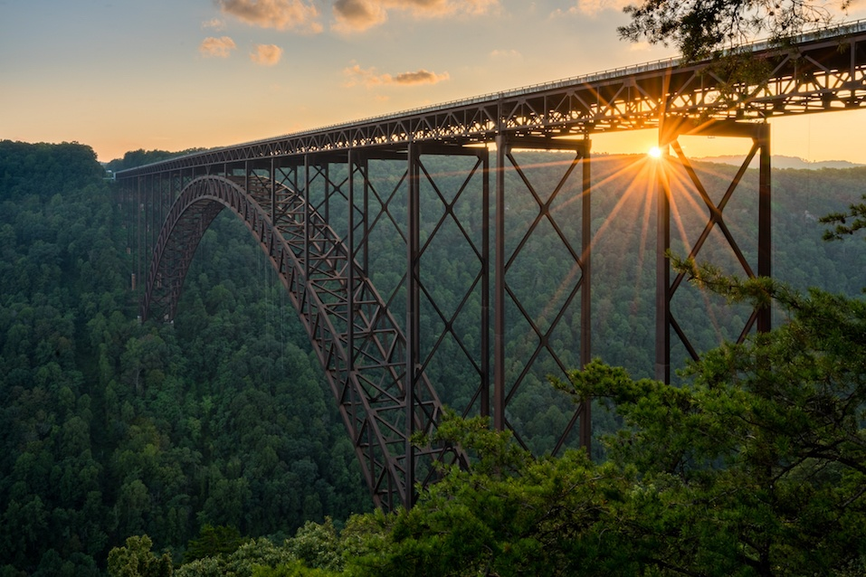 Sunset at the New River Gorge Bridge in West Virginia