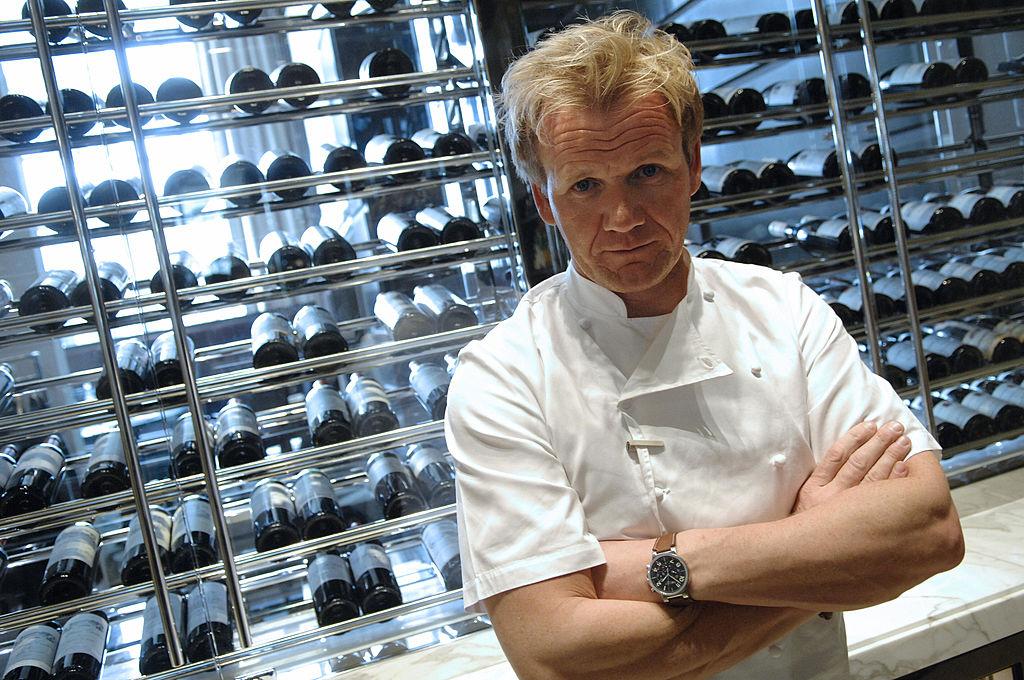Gordon Ramsay poses at the Trianon palace restaurant