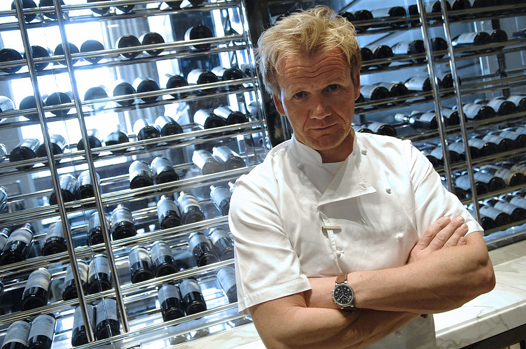 Gordon Ramsay poses at the Trianon palace restaurant